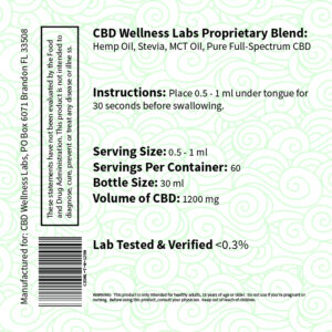 CBD Wellness Labs CBD Oil 1200mg